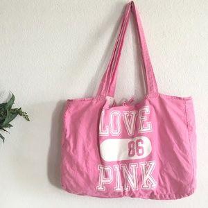 Pink Victoria's Secret large canvas tote bag